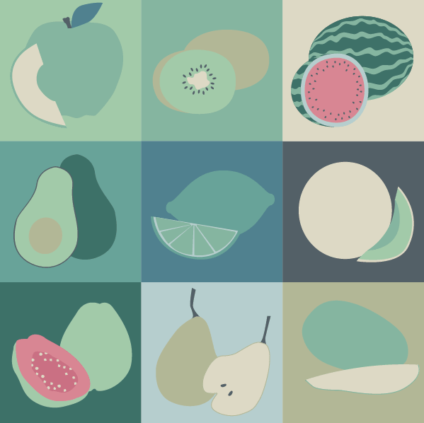 Green fruits graphic design